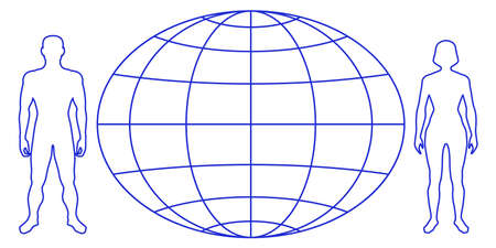 Illustration of the contour people and globe