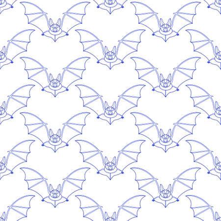 Seamless pattern of the contour flying bats Çizim