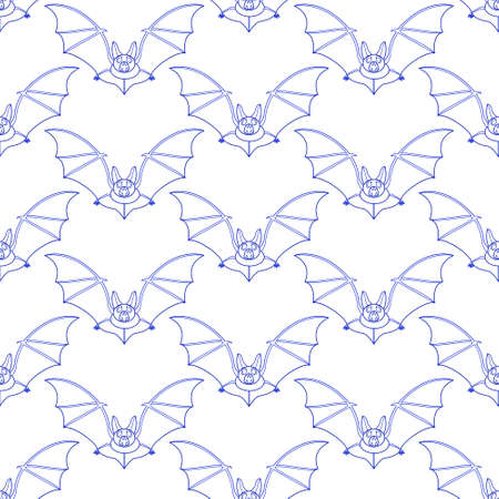 Seamless pattern of the contour flying bats Illustration