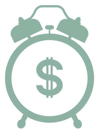 Illustration of the silhouette alarm clock and dollar money symbol
