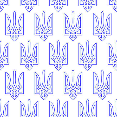 Seamless pattern of the contour coat of arms of Ukraine