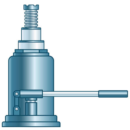 Illustration of the hydraulic lifting jack Stock Illustratie