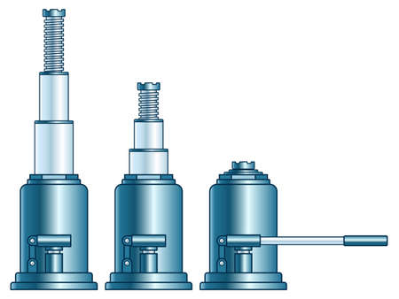 Illustration of the hydraulic lifting jack set 向量圖像