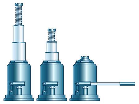 Illustration of the hydraulic lifting jack set Illustration