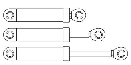 Illustration of the hydraulic cylinder or shock absorber set Stock Illustratie