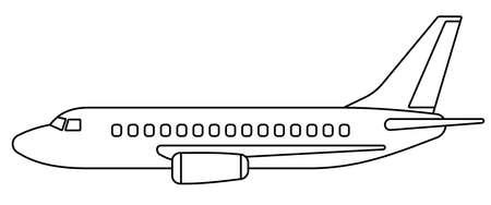 Illustration of the contour aeroplane side view Çizim