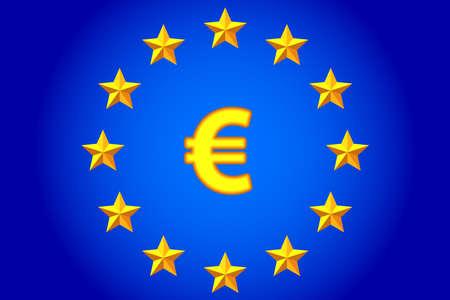 National flag of the European Union and euro symbol Çizim