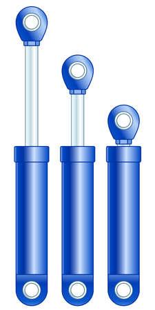 Illustration de l'ensemble vérin hydraulique ou amortisseur Vecteurs