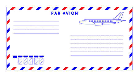 Illustration of the airmail envelope with aeroplane