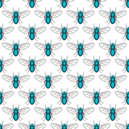 Seamless pattern of the fly insects Ilustracja