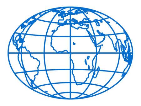 Illustrazione del globo di contorno dell'ellisse astratta.