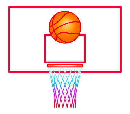 Illustration of the basketball ball and backboard Ilustração