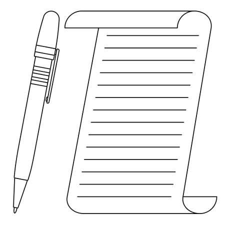 Illustration de la feuille de papier contour abstrait et du stylo à bille Vecteurs