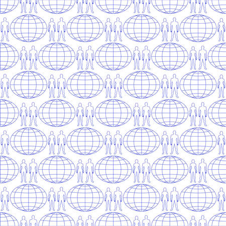 Seamless pattern of the contour people and globe