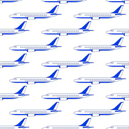 Seamless pattern of the aeroplanes side view