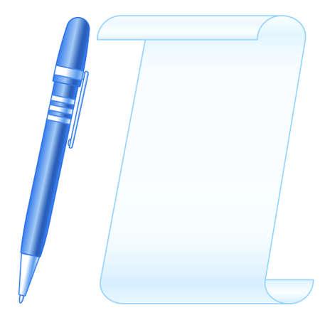 Illustration de la feuille de papier et du stylo à bille