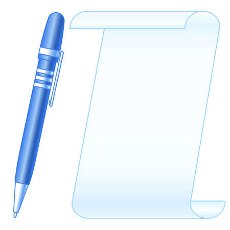 Illustration of the paper sheet and ballpoint pen