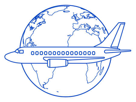 Illustration of the contour aeroplane and globe. Elements of this image furnished by NASA. 