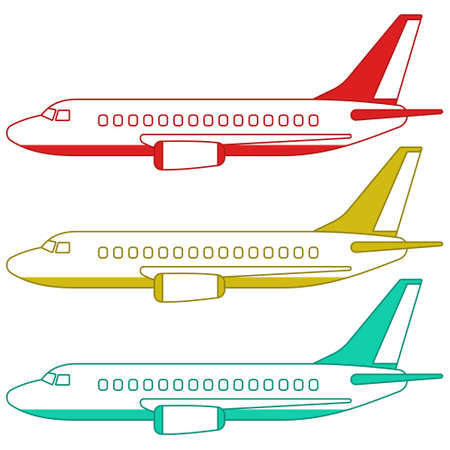 Illustration of the aeroplanes set side view
