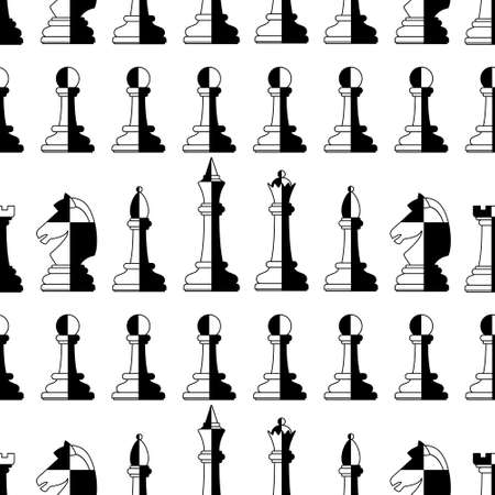 Seamless pattern of the abstract chess pieces