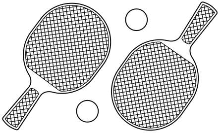 Contour illustration of the rackets and balls for table tennis