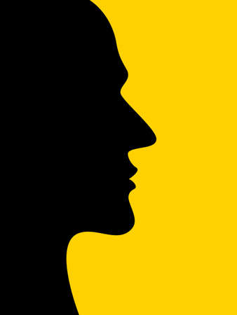 Illustration of the abstract silhouette human profile head