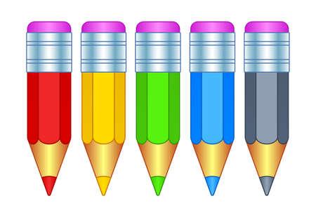 Illustration of the color small pencil icon set Ilustração