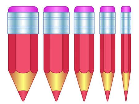 Illustration de l'ensemble d'icônes de petit crayon épais et mince