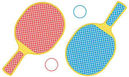 Illustration of the rackets and balls for table tennis