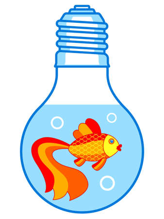 Illustration of the cartoon gold fish and aquarium in the shape of lamp
