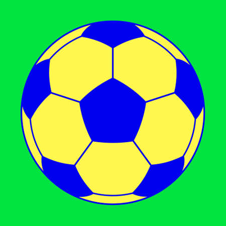 Illustration of the color soccer ball on green background Çizim