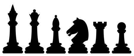 Illustration of the abstract chess silhouette pieces set