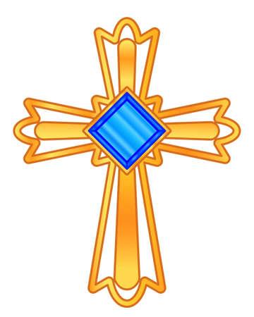 Illustration of the gold christian cross with blue jewel Çizim
