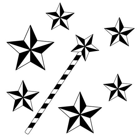 Abstract magic wand symbol contour illustration