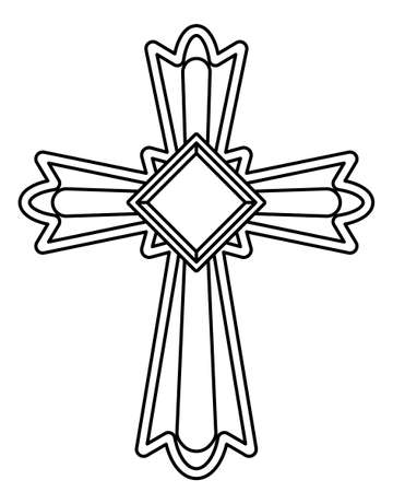Illustration of the contour christian cross with jewel