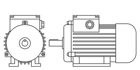 Illustration of the contour electric motor front and side view Çizim