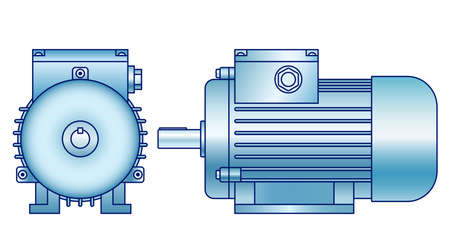 Illustration of the electric motor front and side view Çizim