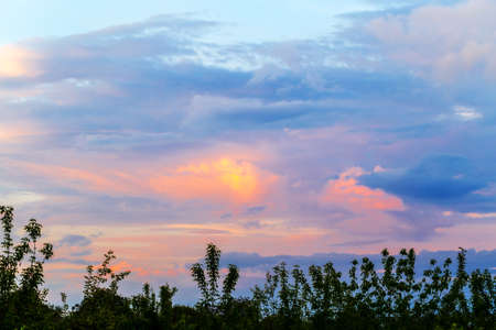 Dusk evening landscape with sunset sky Stok Fotoğraf
