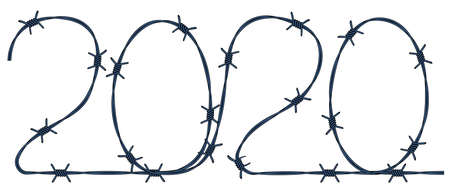 Illustration of the 2020 number barbed wire abstract icon Illustration