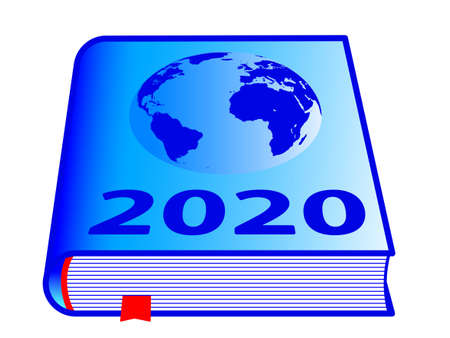 Book and globe map with 2020 New Year number on cover. Elements of this image furnished by NASA.  Source of map: http:visibleearth.nasa.govview.php?id=74518  イラスト・ベクター素材