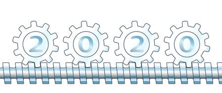 Illustration of the abstract gears and 2020 New Year number Illustration
