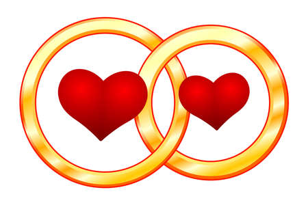 Illustration of the valentine's day abstract hearts and wedding rings