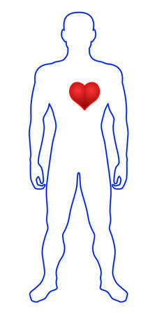 Illustration of the contour man and heart symbol