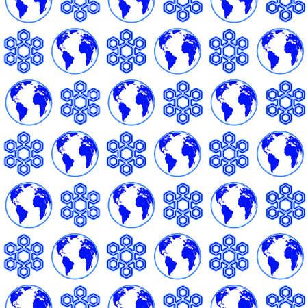 Seamless pattern of the globe and snowflake symbols.