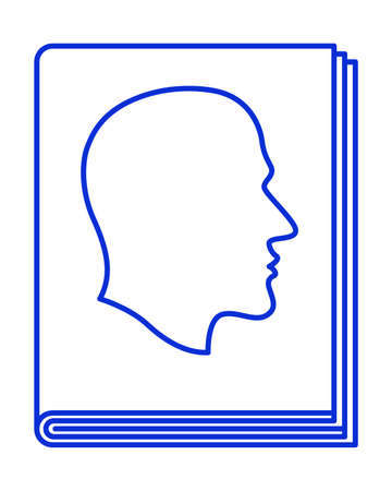Illustration of the abstract contour profile head on book cover
