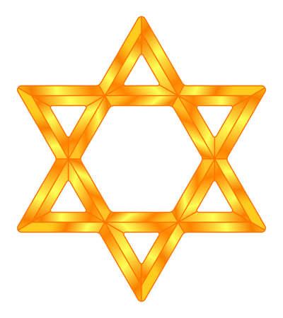 Golden Star of David symbol illustration Ilustracja