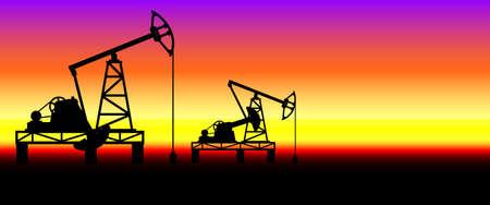 Industrial evening landscape with the oil pumpjack derricks Ilustracja