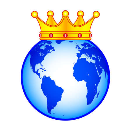 Concept illustration of the globe and crown.