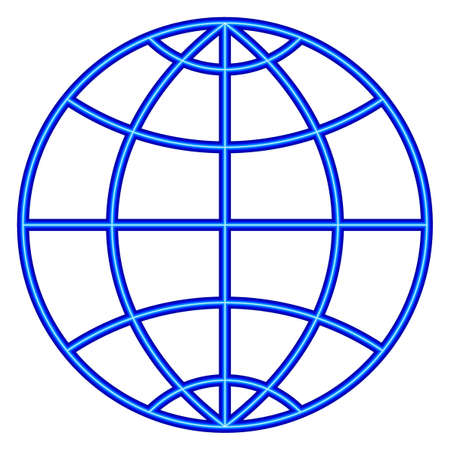 Illustration of the abstract neon contour globe icon