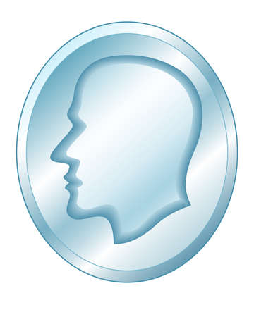 Illustration of the abstract blend human profile head